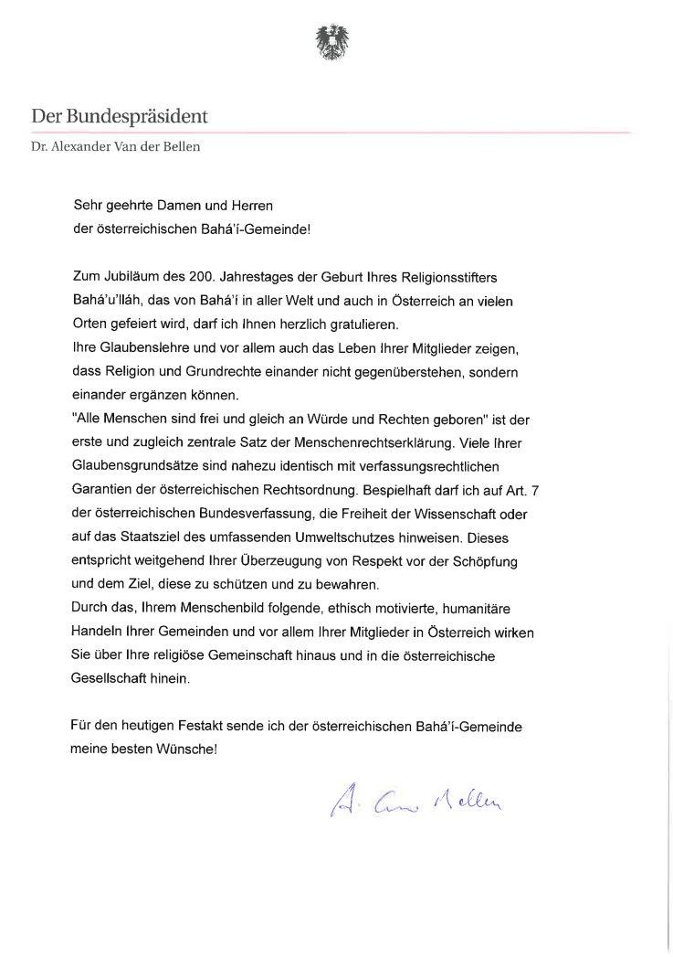 Alexander von Bellen osztrák elnök köszöntője
