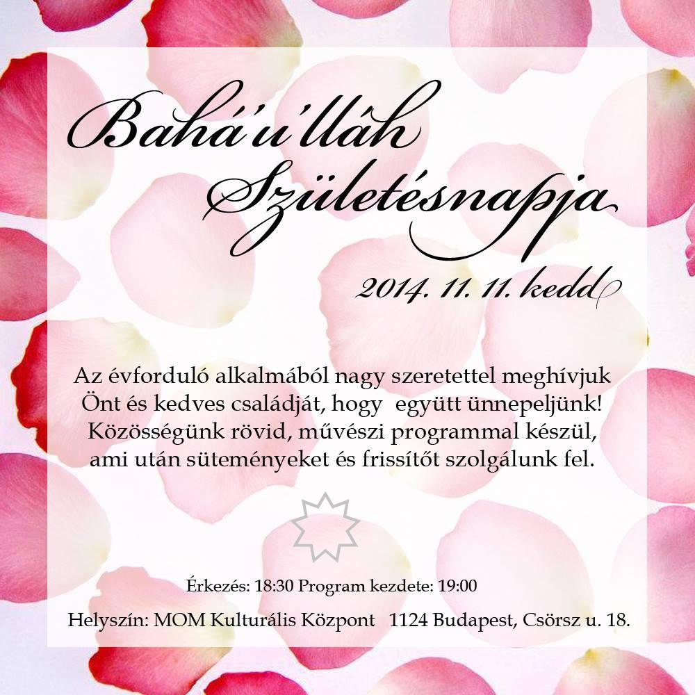 Bahá'u'lláh születésnapja - Budapest