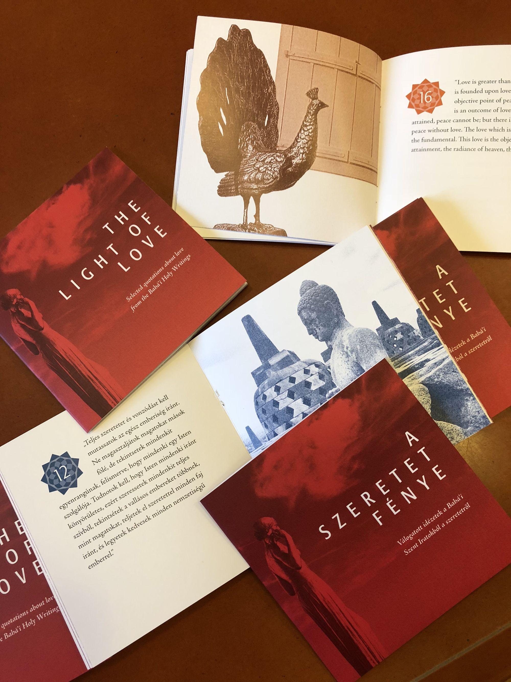 A szeretet fénye című könyv borítója és néhány oldala