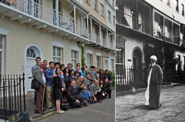 """Bristolban szeptember 23-25. között a helyi bahá'í-ok felelevenítették 'Abdu'l-Bahá 100 évvel ezelőtti hétvégi látogatását. Ezen a képen az előtt a ház előtt láthatóak, ahol 'Abdu'l-Bahá megszállt. A város két pontján elhangzó imák, történetmesélés, dalok és színpadi előadások a résztvevők leírása szerint """"felemelőek"""" és """"inspirálóak"""" voltak. © Bahá'í Nemzetközi Hírszolgálat news.bahai.org"""