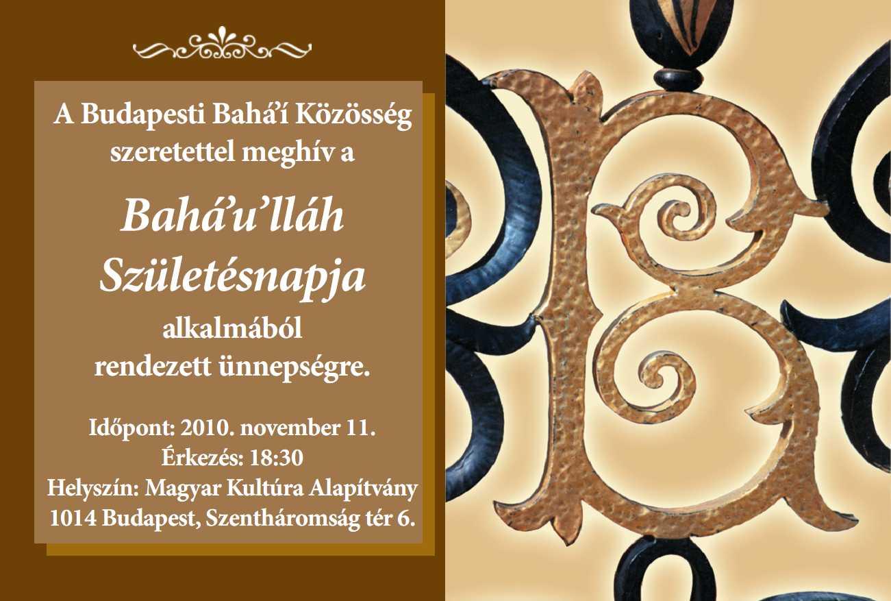 Meghívó Bahá'u'lláh születésnapjára