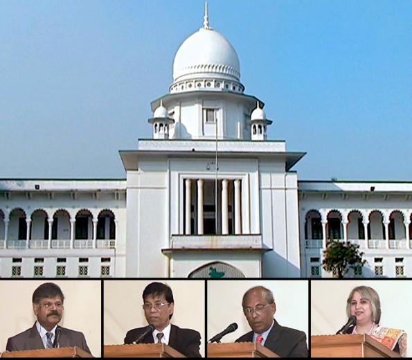Néhány előadó Bangladesben, egy muszlim többségű országban, a bahá'í jogról rendezett tanácskozáson 2011. december 3-án Dhakában, a Legfelsőbb Bíróságon: (balról) Dr. Mizanur Rahman, Banglades Emberjogi Tanácsának elnöke; S.N. Goswami, ügyvéd; Justice Delwar Hossain és Dr. Jena Shahidi, a Bangladesi Bahá'í-ok Országos Szellemi Tanácsának tagja. © Bahá'í Nemzetközi Hírszolgálat news.bahai.org