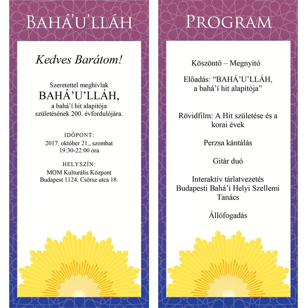 A budapesti program meghívója és programja