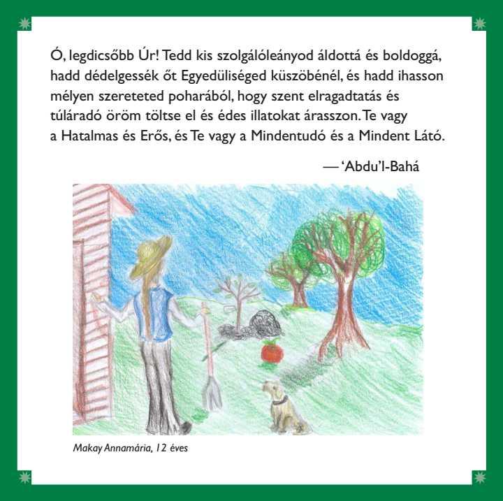 A gyerek imakönyv egy oldala