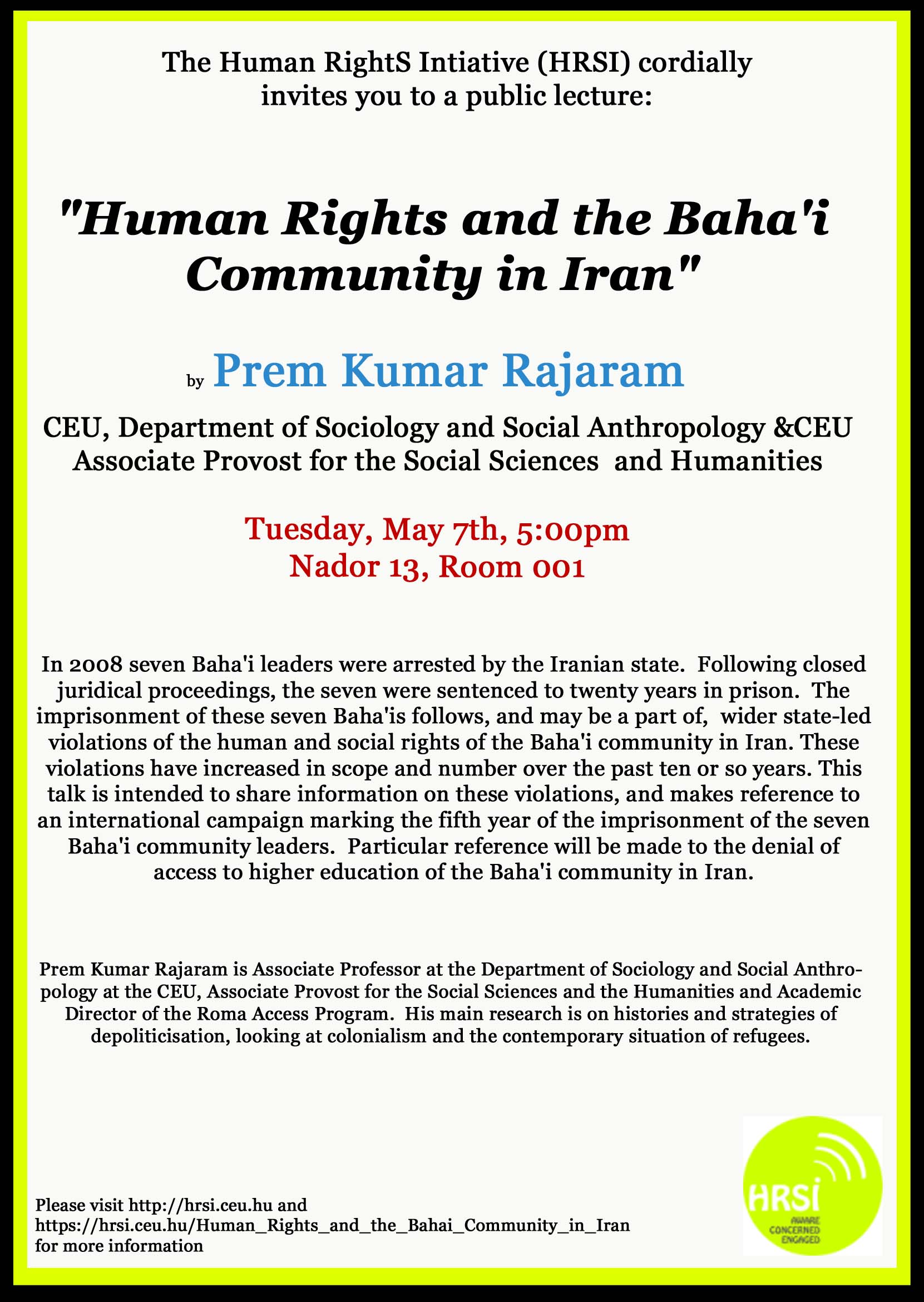 Lecture on Human Rights in Iran at CEU © Human RightS Initiative (HRSI)