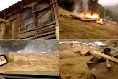 A bahá'í házak 90%-át elpusztító gyújtogatás, mobiltelefonnal készített videóról (Ivel falu, Irán)