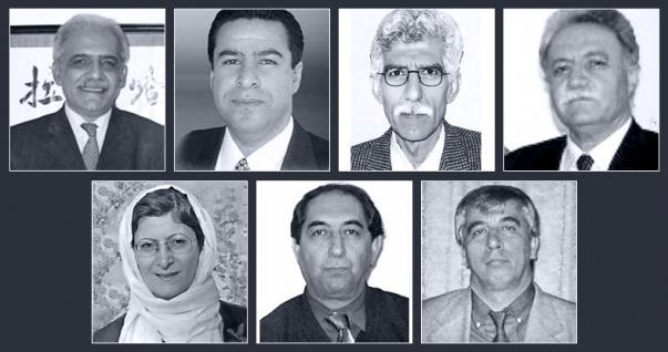 A hét bebörtönzött iráni oktató (felső sor, balról jobbra): Mahmoud Badavam, Ramin Zibaie, Riaz Sobhani, Farhad Sedghi; (alsó sor, balról jobbra) Noushin Khadem, Kamran Mortezaie, and Vahid Mahmoudi. © Bahá'í Nemzetközi Hírszolgálat news.bahai.org