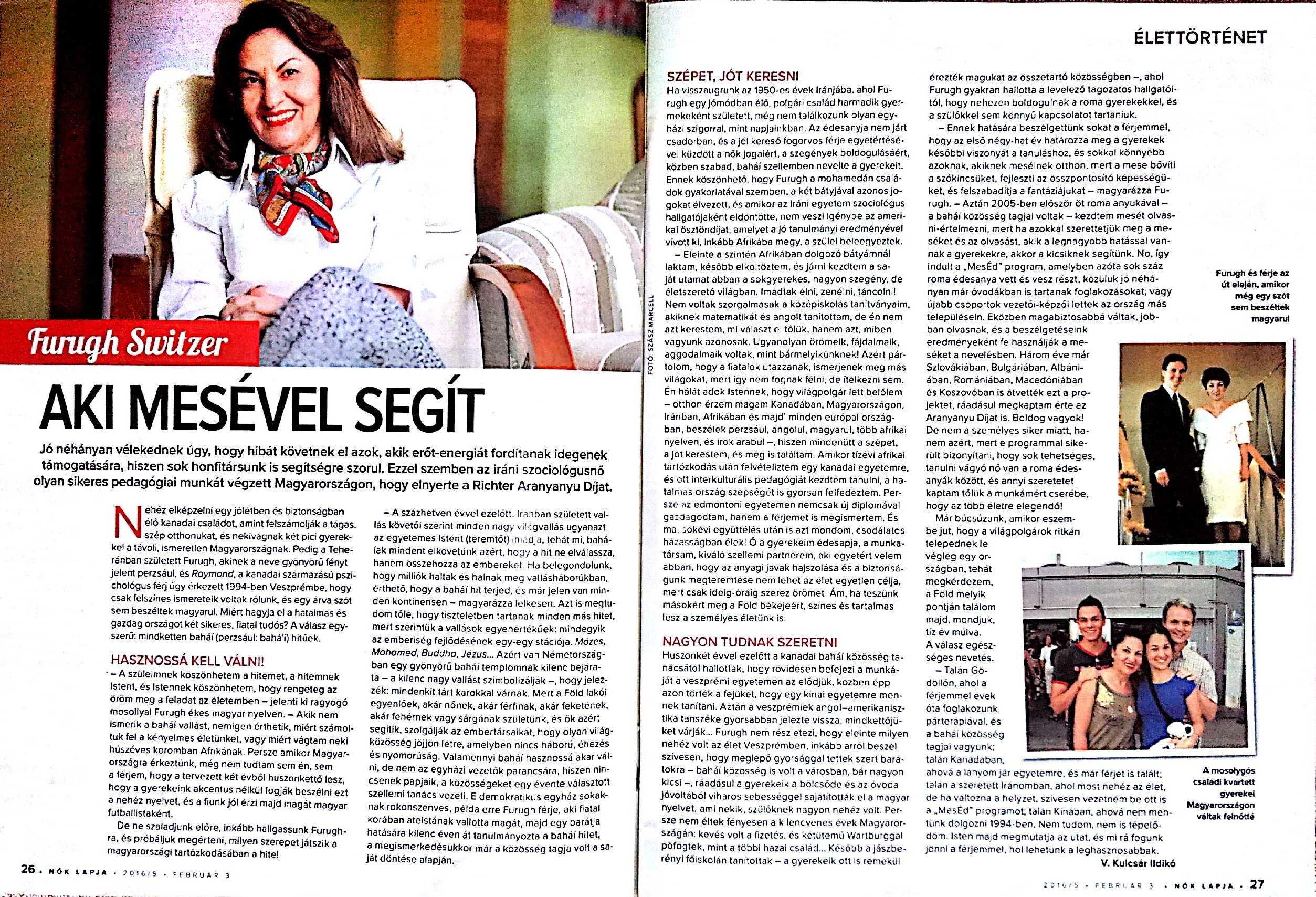 A Nők Lapja cikke: Furugh Switzer – Aki mesével segít. 2016. február 3. (5. szám) 26-27. oldal