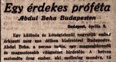 Régi újságcikk a bahá'í hitről (Világ: Egy érdekes próféta 1913. április 10. 7-8. oldal) (c) Országos Széchenyi Könyvtár Mikrofilmtára