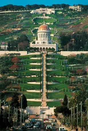 Bahá'í szent hely: A Báb sírszentélye és a teraszok (Haifa, Izrael) (c) Bahá'í Nemzetközi Közösség www.bahai.org