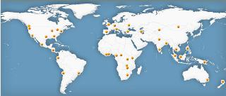 Térkép a 41 bahá'í konferenciáról