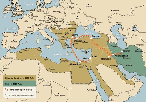 Térkép Bahá'u'lláh száműzetésének útvonaláról otthonából, Teheránból Akkó börtönvárosába (c) Bahá'í Nemzetközi Közösség www.bahai.org